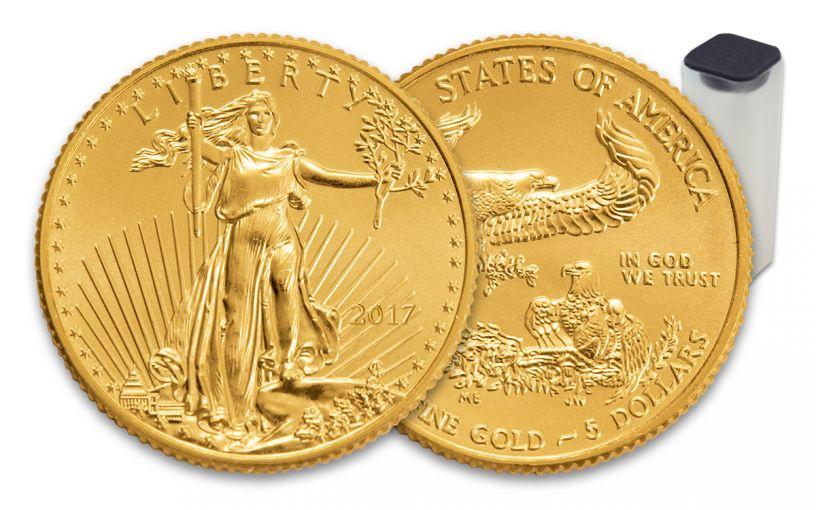 2017 5 Dollar 1/10-oz Gold Eagle BU 50-Coin Roll