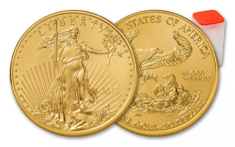 2017 50 Dollar 1-oz Gold Eagle BU 20-Coin Roll