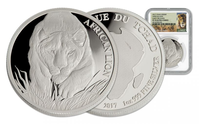 2017 Chad 5000 Franc 1-oz Silver Lion NGC PF70 Early Release