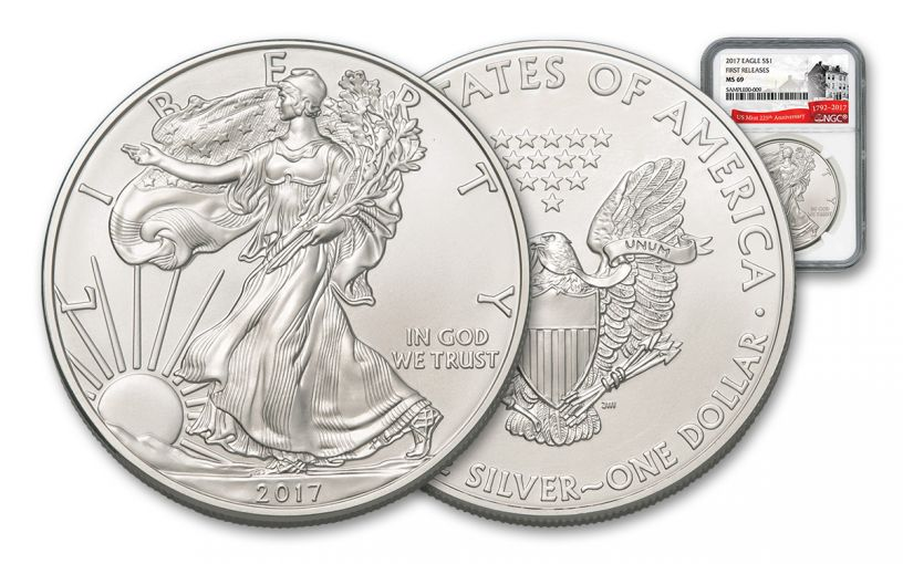 2017 1 Dollar 1-oz Silver Eagle NGC MS69 First Releases 225th Anniversary