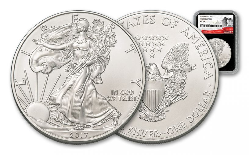 2017 1 Dollar 1-oz Silver Eagle NGC MS69 First Releases 225th Anniversary - Black