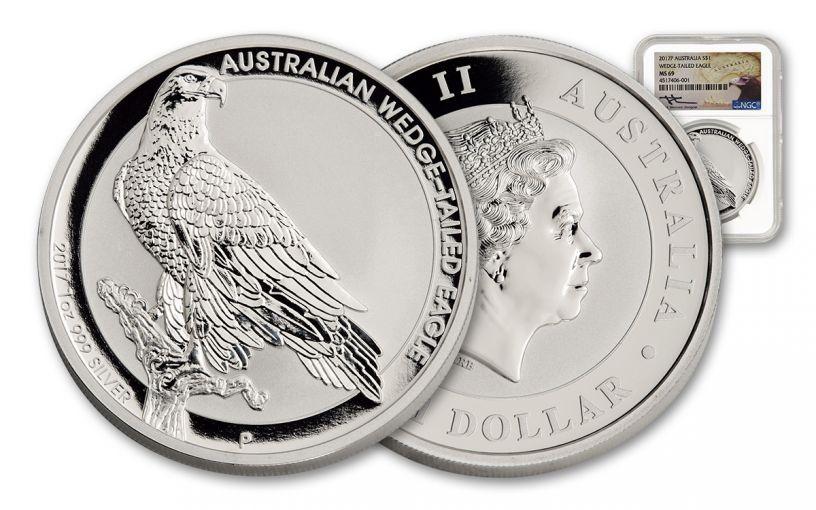 2017 Australia 1 Dollar 1-oz Silver Wedge-Tailed Eagle NGC MS69 Mercanti Signed