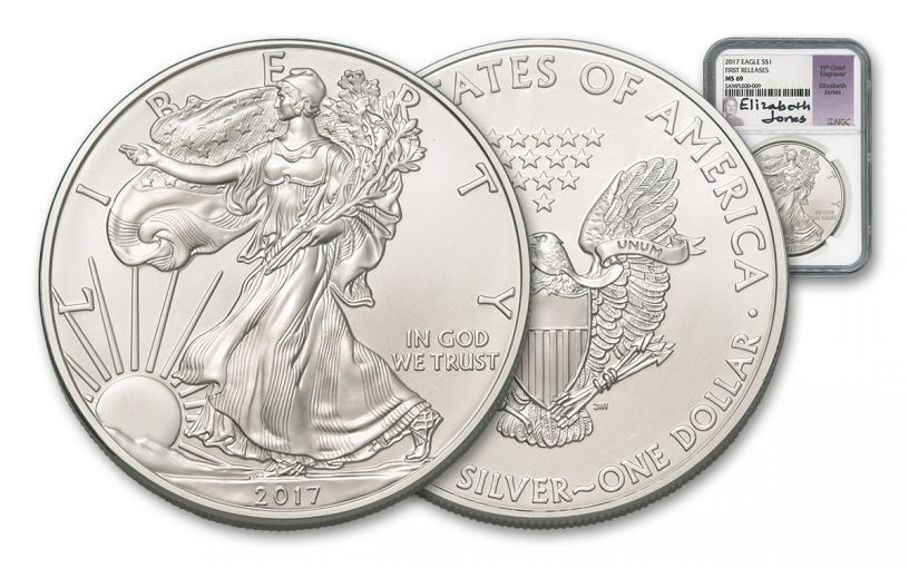 2017 1 Dollar 1-oz Silver Eagle NGC MS69 First Releases Jones Signed