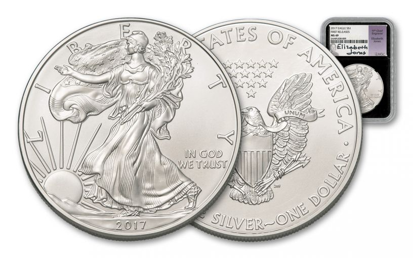 2017 1 Dollar 1-oz Silver Eagle NGC MS69 First Releases Jones Signed - Black