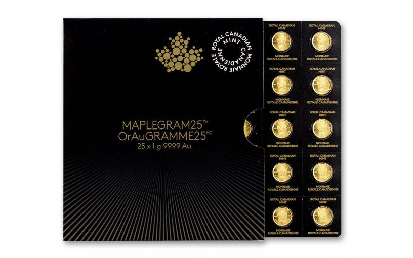 2017 Canada 1 Gram Gold Maple Leaf BU 25-Coin Sheet