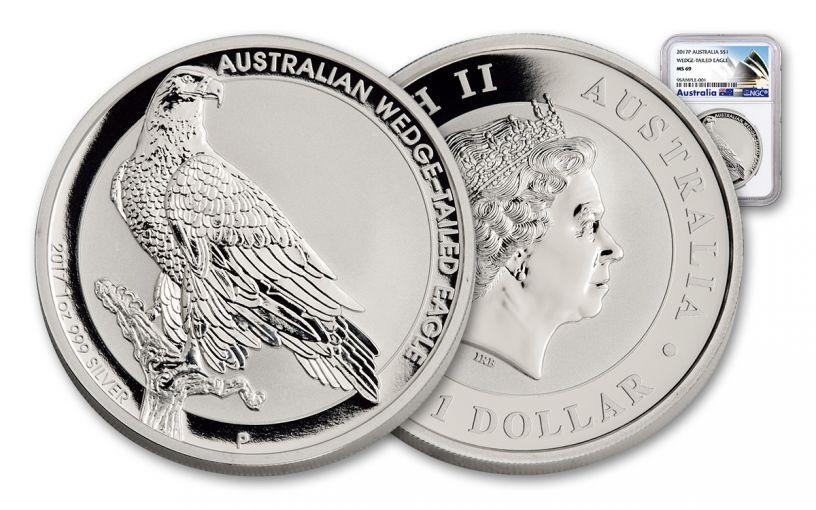 2017 Australia 1 Dollar 1-oz Silver Wedge-Tailed Eagle NGC MS69