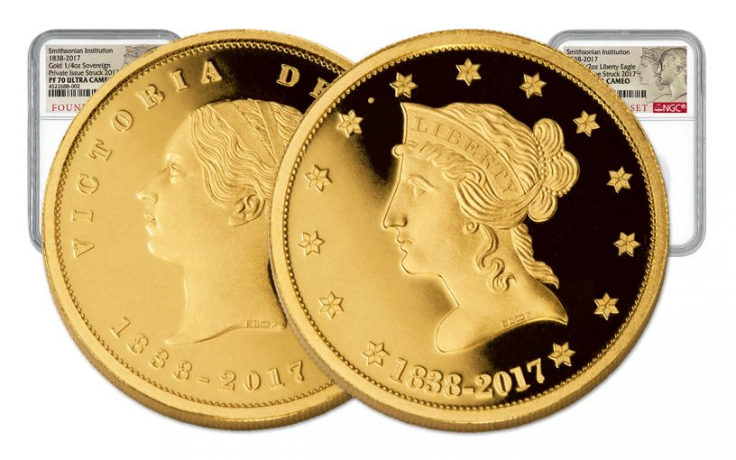 1838 Smithsonian Gold Founders 2-Pc Set NGC PF70UCAM