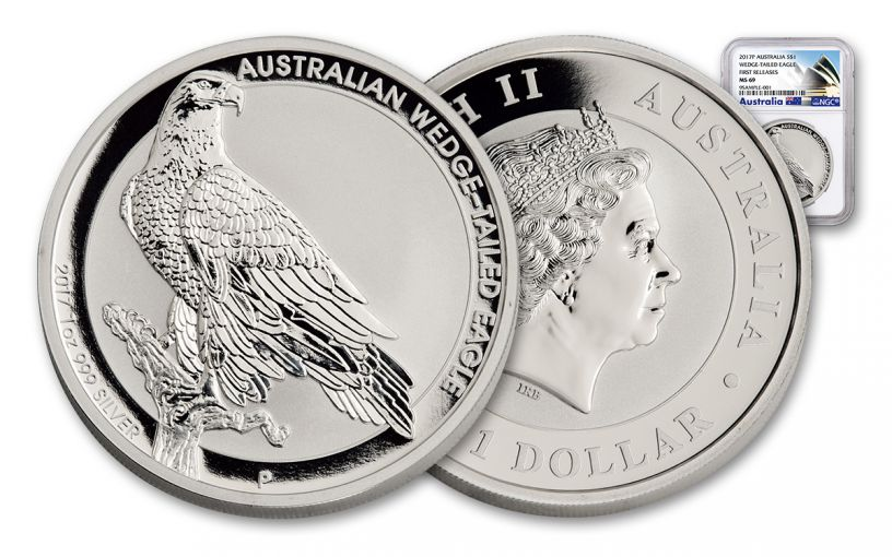 2017 Australia 1 Dollar 1-oz Silver Wedge-Tailed Eagle NGC MS69 First Releases