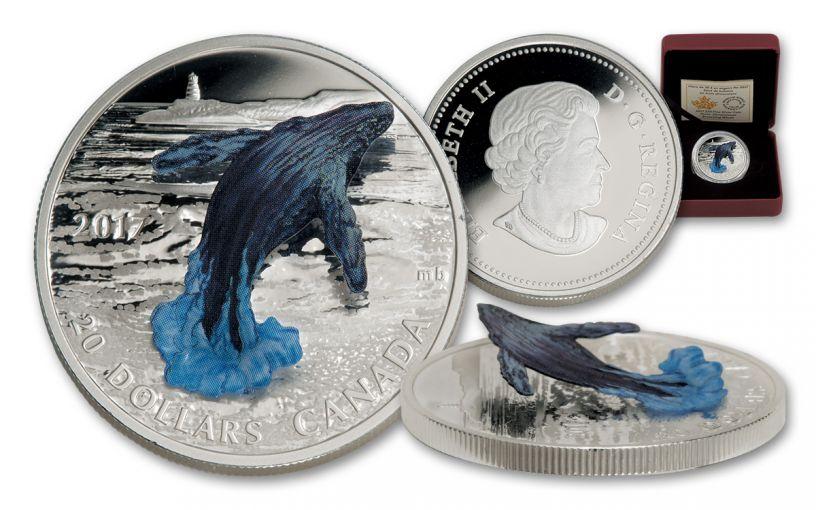 2017 Canada 20 Dollar 1-oz Silver Breaching Whale 3D Proof