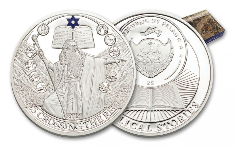 PALAU 2017 $2 SILVER BIBLICAL STORIES MOSES PF