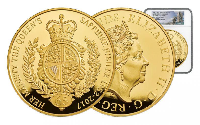2017 Great Britain 1000 Pound 1 Kilo Gold Sapphire Jubilee NGC PF70UCAM First Struck