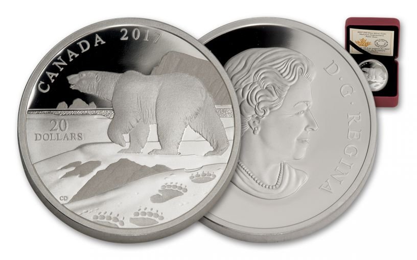2017 Canada 20 Dollar 1-oz Silver Nature - Polar Bear Proof