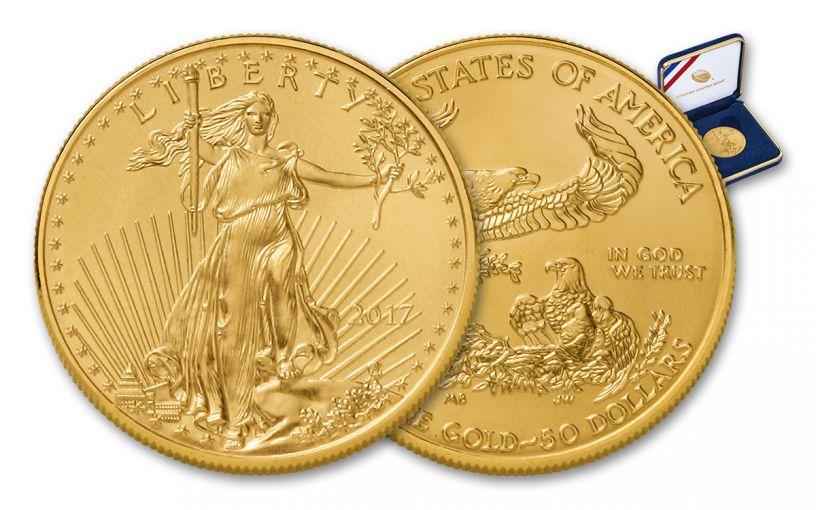 2017 50 Dollar 1-oz Gold Eagle BU in U.S. Mint Presentation Box