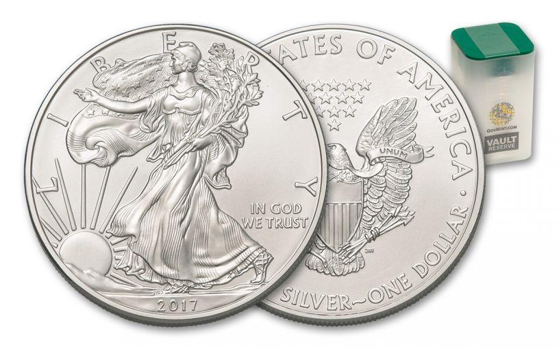 2017 1 Dollar 1-oz Silver Eagle BU 20-Coin Roll - Vault Reserve