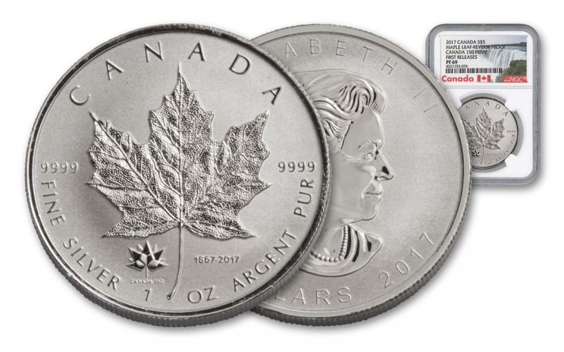 2017 Canada 5 Dollar 1-oz Silver Maple Leaf Reverse Proof NGC PF69- First Releases