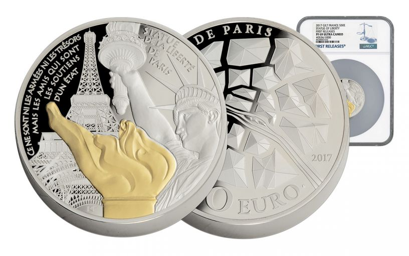 2017 France 5-oz Silver Statue of Liberty NGC PF69UCAM