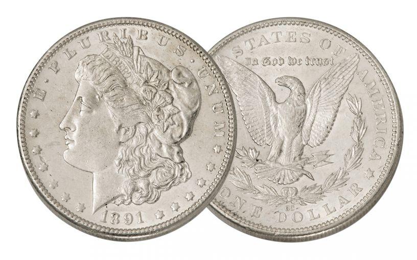 1891-CC Morgan Silver Dollar AU