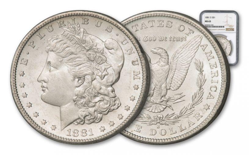1881-S Morgan Silver Dollar NGC/PCGS MS63