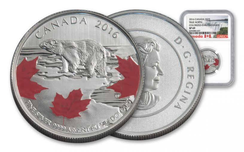 2016 Canada 25 Dollar Silver True North Specimen NGC Early Releases SP69