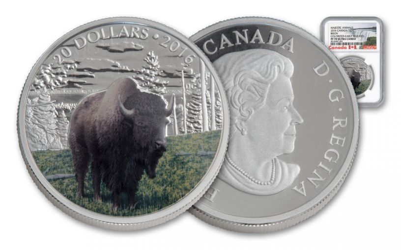 2016 Canada 20 Dollar 1-oz Silver Benevolent Bison NGC Early Releases PF70UCAM