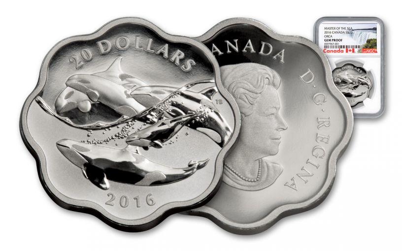 2016 Canada 20 Dollar 1-oz Silver Sea Master Orca Gem Proof