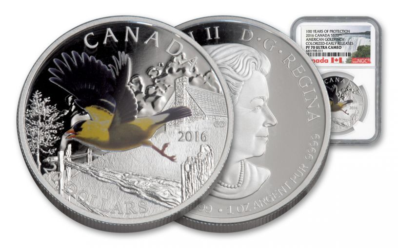 2016 Canada 20 Dollar 1-oz Silver Gold Finch NGC PF70UCAM Early Releases