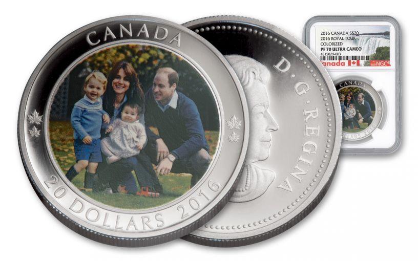 2016 Canada 20 Dollar 1-oz Silver A Royal Tour NGC PF70UCAM