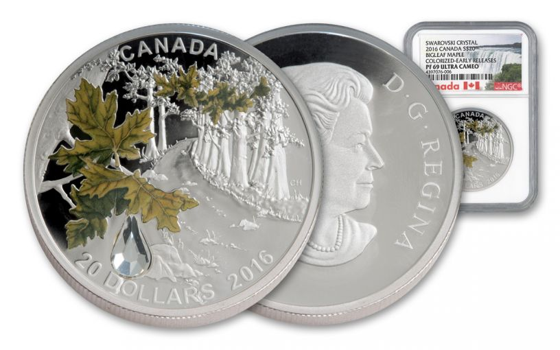 2016 Canada 20 Dollar 1-oz Silver Swarovski Maple NGC PF69UCAM Early Releases