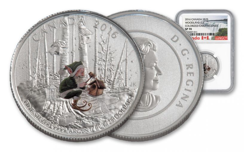 2016 Canada 25 Dollar 1-oz Silver Elf Specimen NGC SP70 Early Releases