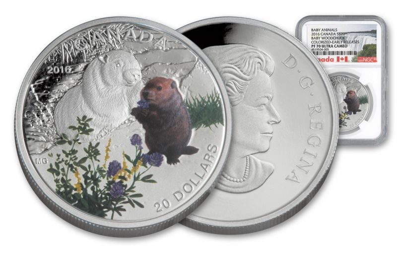 2016 Canada 20 Dollar 1-oz Silver Woodchuck NGC PF70UCAM Early Release