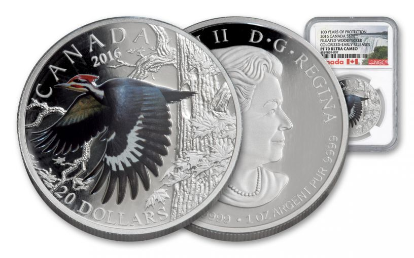 2016 Canada 20 Dollar 1-oz Silver Woodpecker NGC PF70UCAM Early Release