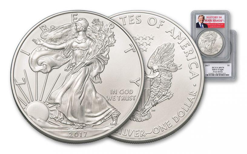 2017 1 Dollar 1-oz Silver Eagle PCGS MS70 First Strike Donald Trump Label