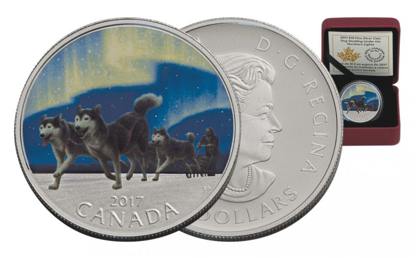 2017 Canada 10 Dollar Silver Dog Sledding Northern Lights Proof