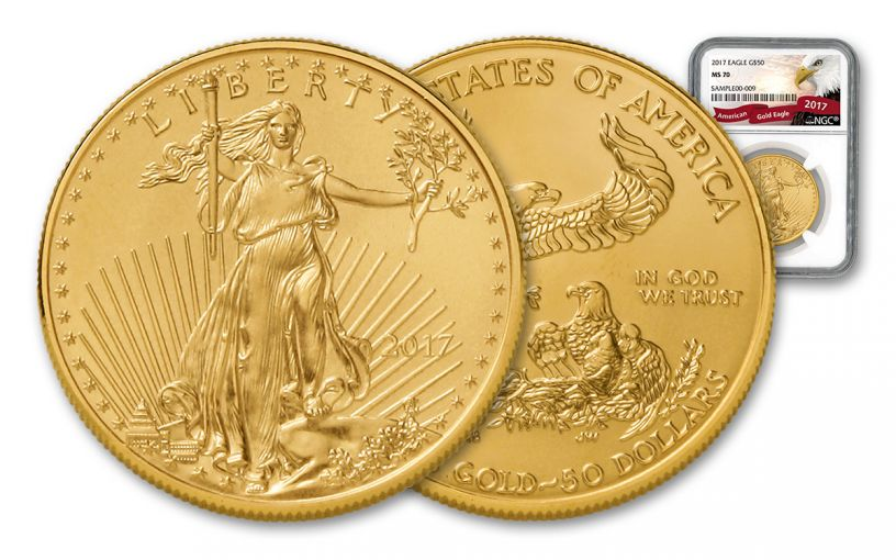 2017 50 Dollar 1-oz Gold Eagle NGC MS70 Eagle Label