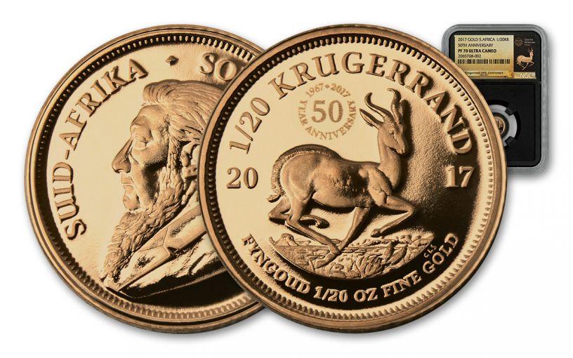 2017 South Africa 1/20-oz Gold Krugerrand NGC PF70CAM/PF70UCAM - Black
