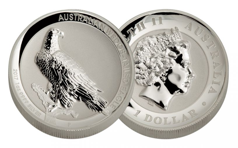 2017 Australia 1 Dollar 1-oz Silver Wedge-Tailed Eagle High Relief Reverse Proof in Original Government Packaging