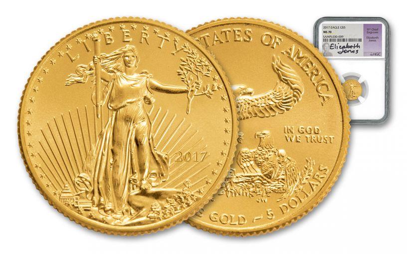 2017 $5 1/10-oz Gold Eagle NGC MS70 Jones