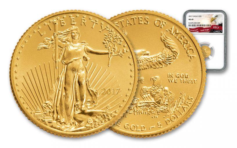 2017 $5 1/10-oz Gold Eagle NGC MS69 Eagle