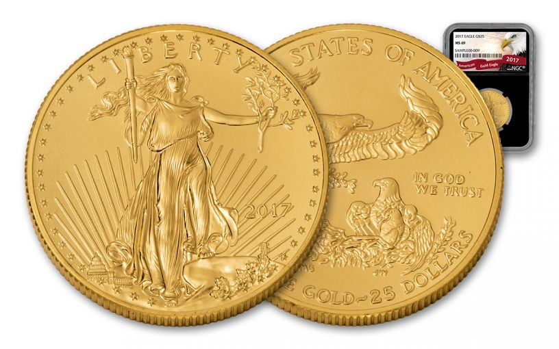 2017 25 Dollar 1/2-oz Gold Eagle NGC MS69 Eagle Black