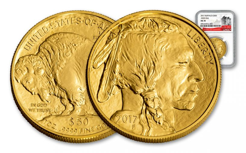 2017 50 Dollar 1-oz Gold Buffalo NGC MS70 225th Anniversary
