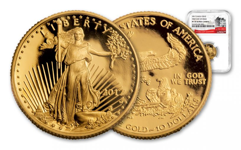 2017-W 10 Dollar 1/4-oz Gold Eagle Proof NGC PF70UCAM FDI 225th Anniversary
