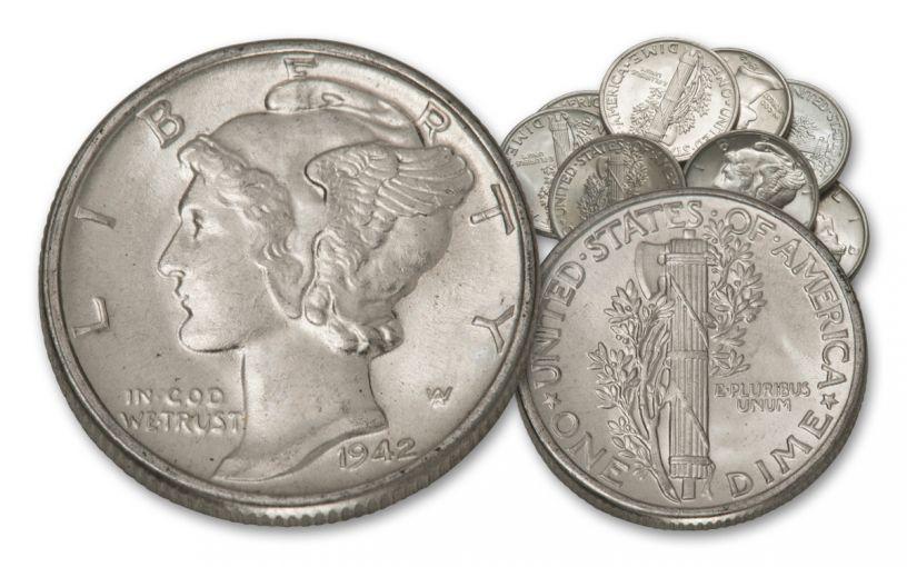 1942 Mercury Dime BU 10-Coin Roll