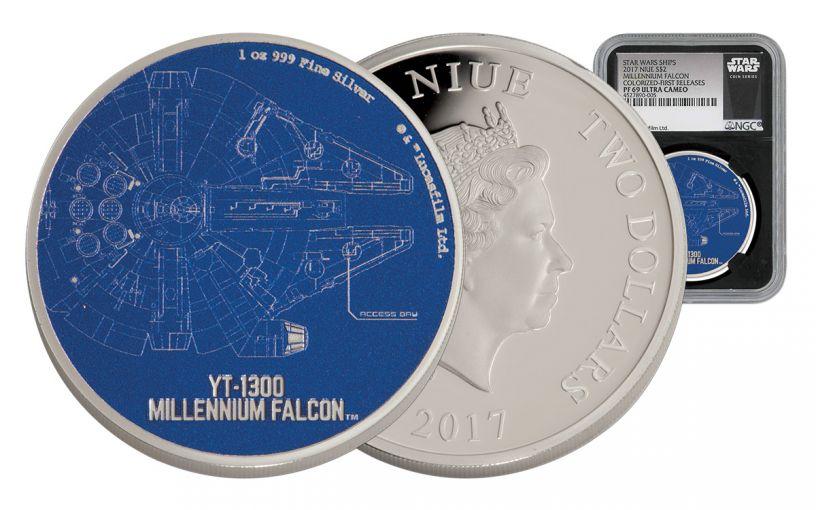 2017 Niue 2 Dollar 1-oz Silver Star Wars Ships - Millennium Falcon NGC PF69