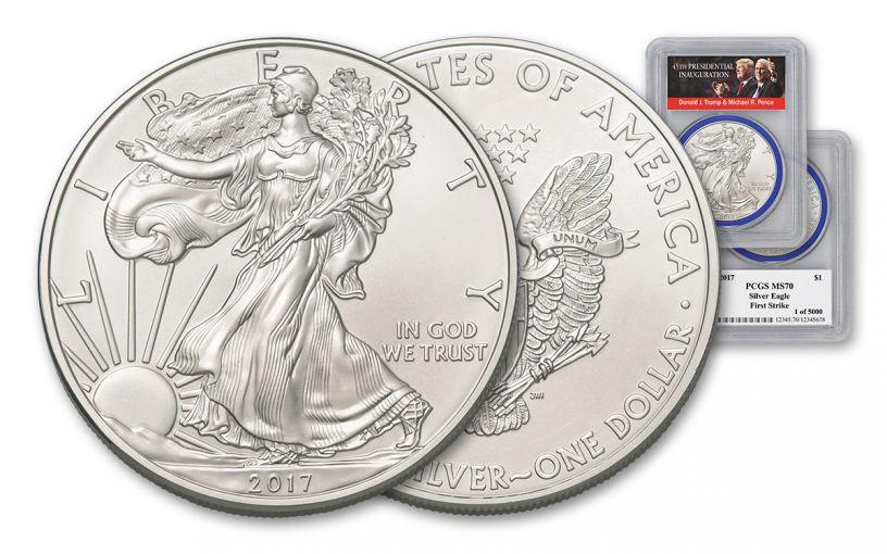 2017 1 Dollar 1-oz Silver Eagle PCGS MS70 First Strike Trump Pence Label - Blue