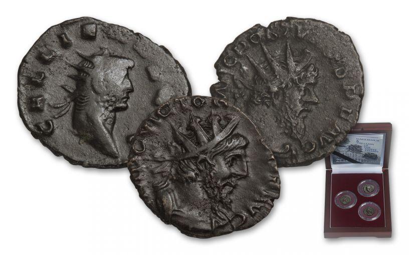 253-271 AD Roman Bronze South Petherton Hoard 3-Coin Set