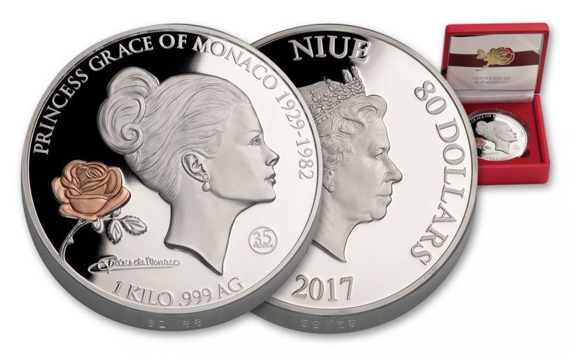2017 Niue 80 Dollar 1 Kilo Silver Grace Kelly Proof-Like
