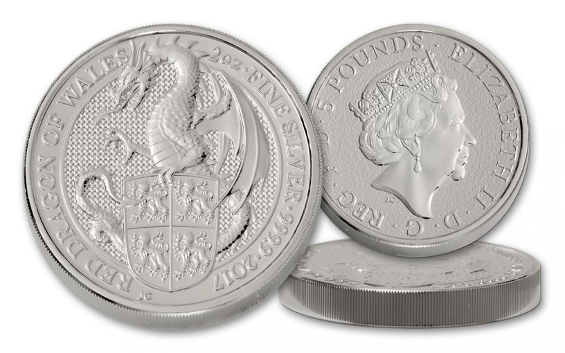 2017 Great Britain 5 Pound 2-oz Silver Queen's Beasts The Dragon Uncirculated