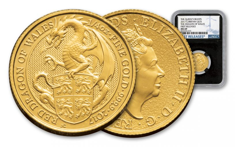 2017 Great Britain 25 Pound 1/4-oz Gold Queens Beast Dragon NGC MS69- First Releases