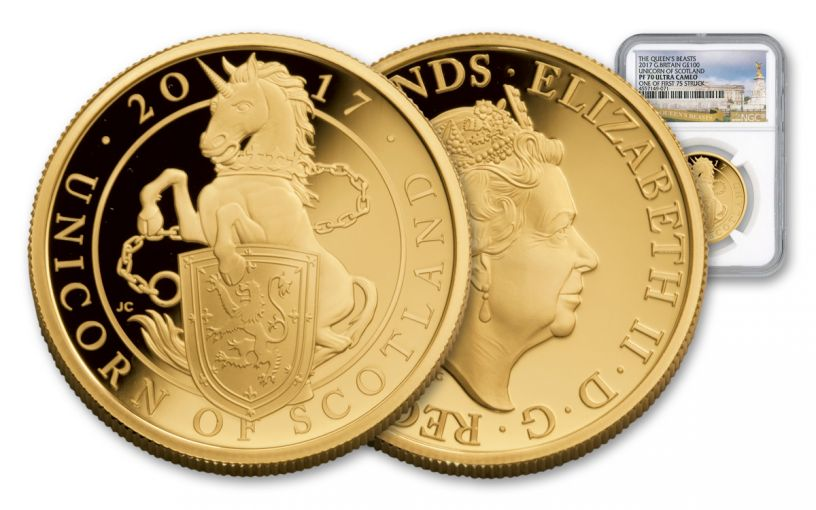 2017 Great Britain 1-oz Gold Queen's Unicorn NGC PF70 UC FS
