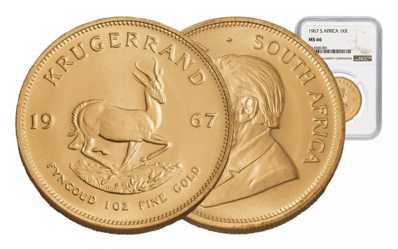1967 South Africa 1-oz Gold Krugerrand NGC MS66